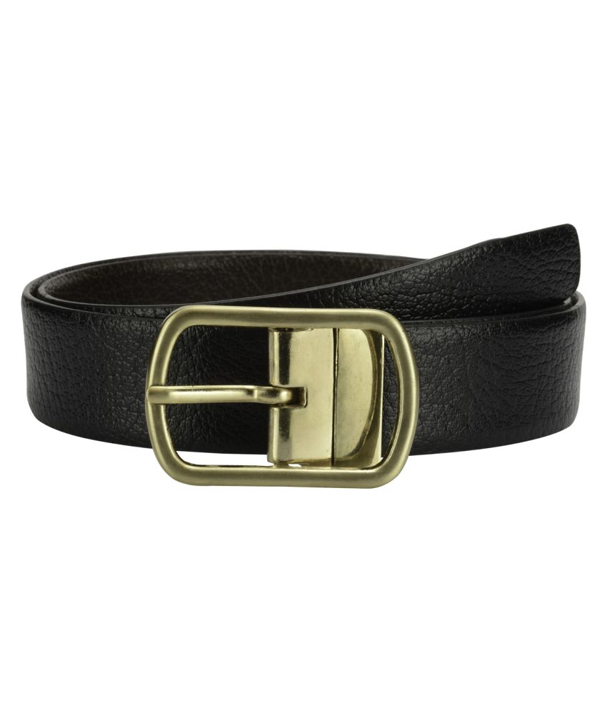 Teakwood Black Leather Casual Belts