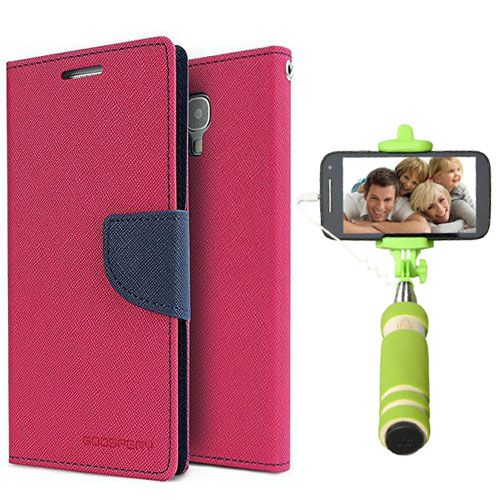 Wallet Flip Case Back Cover For Sony Expria Z3-(Pink)+Mini Selfie Stick Compatible for all MobilesBy Style Crome Store