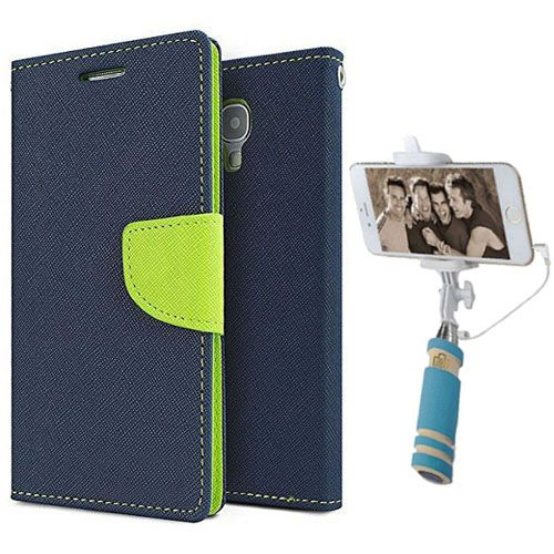 Wallet Flip Case Back Cover For Mircomax A110-(Blue)+Mini Selfie Stick Compatible for all MobilesBy Style Crome Store