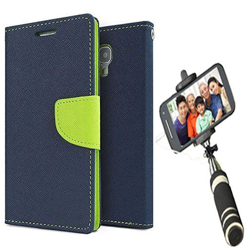 Wallet Flip Case Back Cover For HTC816-(Blue)+Mini Selfie Stick Compatible for all MobilesBy Style Crome Store