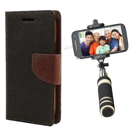Wallet Flip Case Back Cover For HTC526-(Blackbrown)+Mini Selfie Stick Compatible for all MobilesBy Style Crome Store