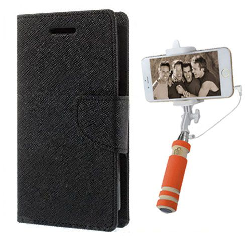 Wallet Flip Case Back Cover For Mircomax A210 -(Black)+Mini Selfie Stick Compatible for all MobilesBy Style Crome Store