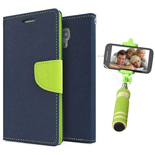 Wallet Flip Case Back Cover For Sony Expria M2-(Blue)+Mini Selfie Stick Compatible for all MobilesBy Style Crome Store