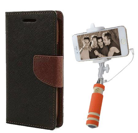 Wallet Flip Case Back Cover For Samsung A7-(Blackbrown)+Mini Selfie Stick Compatible for all MobilesBy Style Crome Store