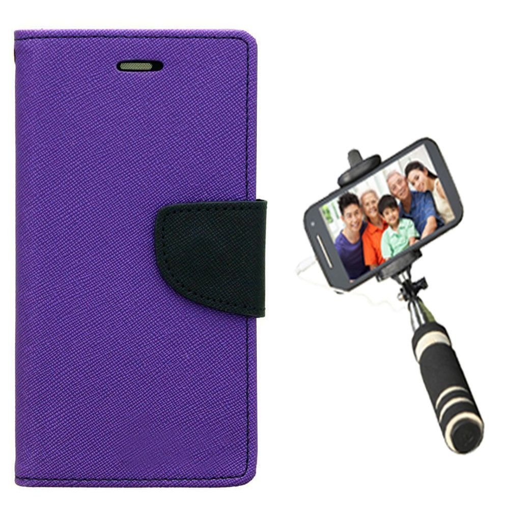 Wallet Flip Case Back Cover For One Plus One-(Purple)+Mini Selfie Stick Compatible for all MobilesBy Style Crome Store