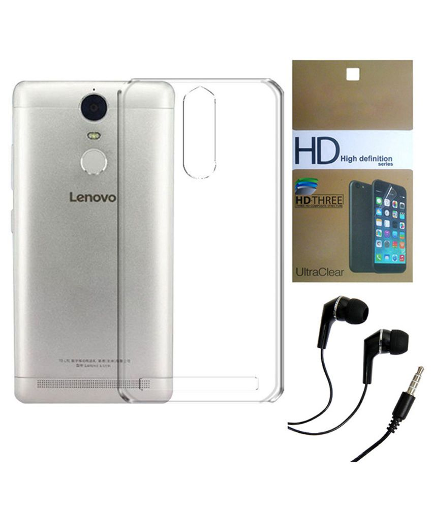 new style 40fec bfcf1 Lenovo Vibe K5 Note Transparent Hard Back Case Cover With Ultra Clear  Screen Guard & 3.5mm Super Sound Quality Earphone Combo