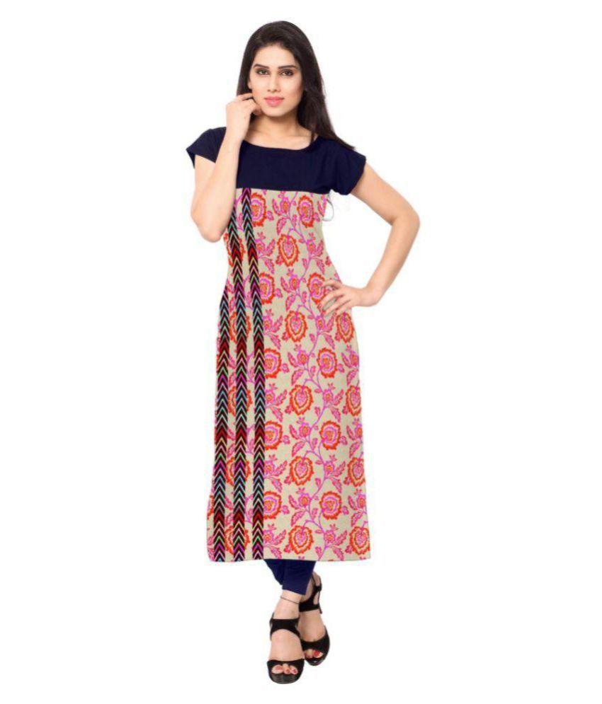 Flute Fashion Multicoloured Crepe Straight Kurti