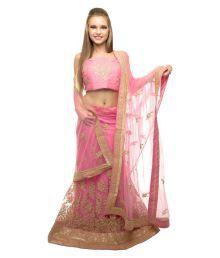 RSR Life Style Baby Pink Net A-line Semi Stitched Lehenga