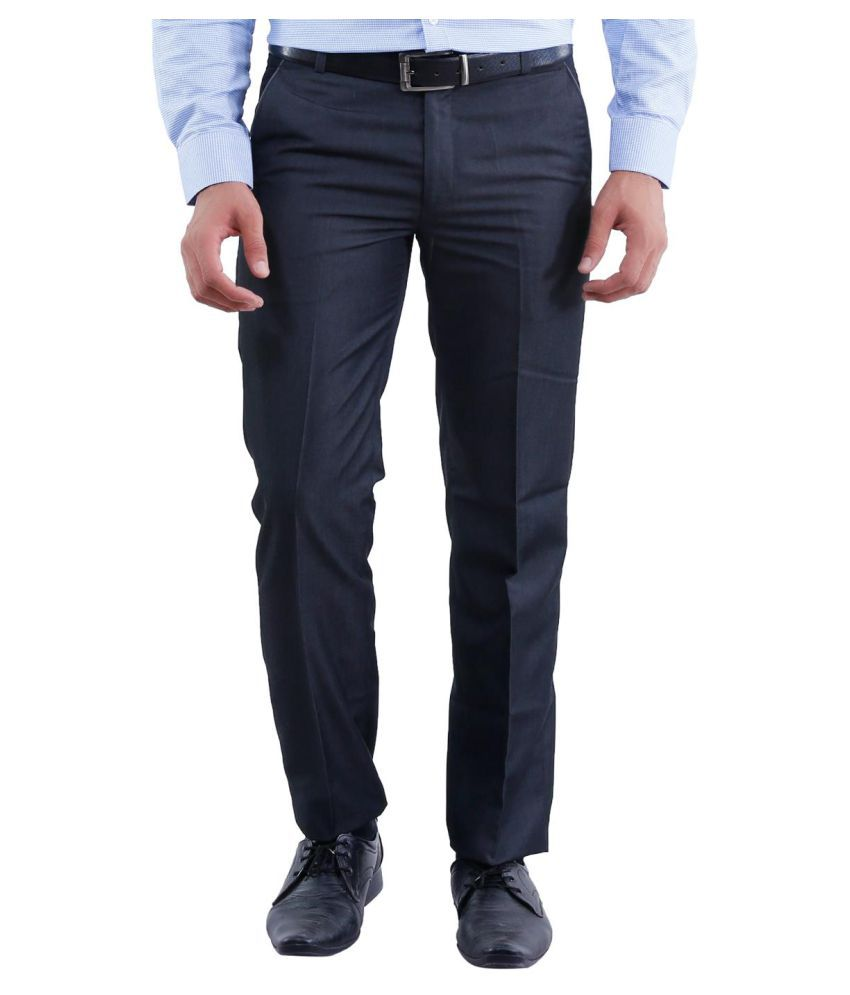 La Mode Black Regular Flat Trouser