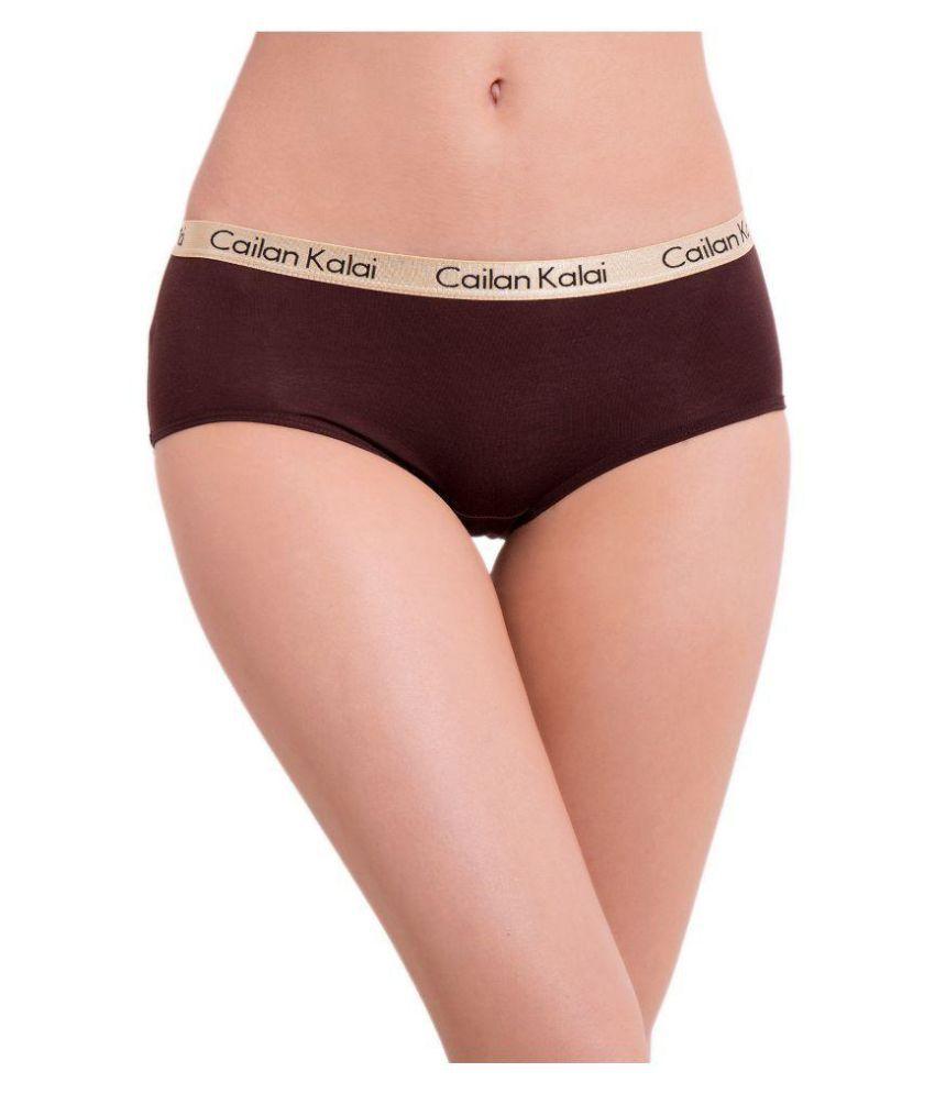 Cailan Kalai Brown Poly Cotton Bikini Panties