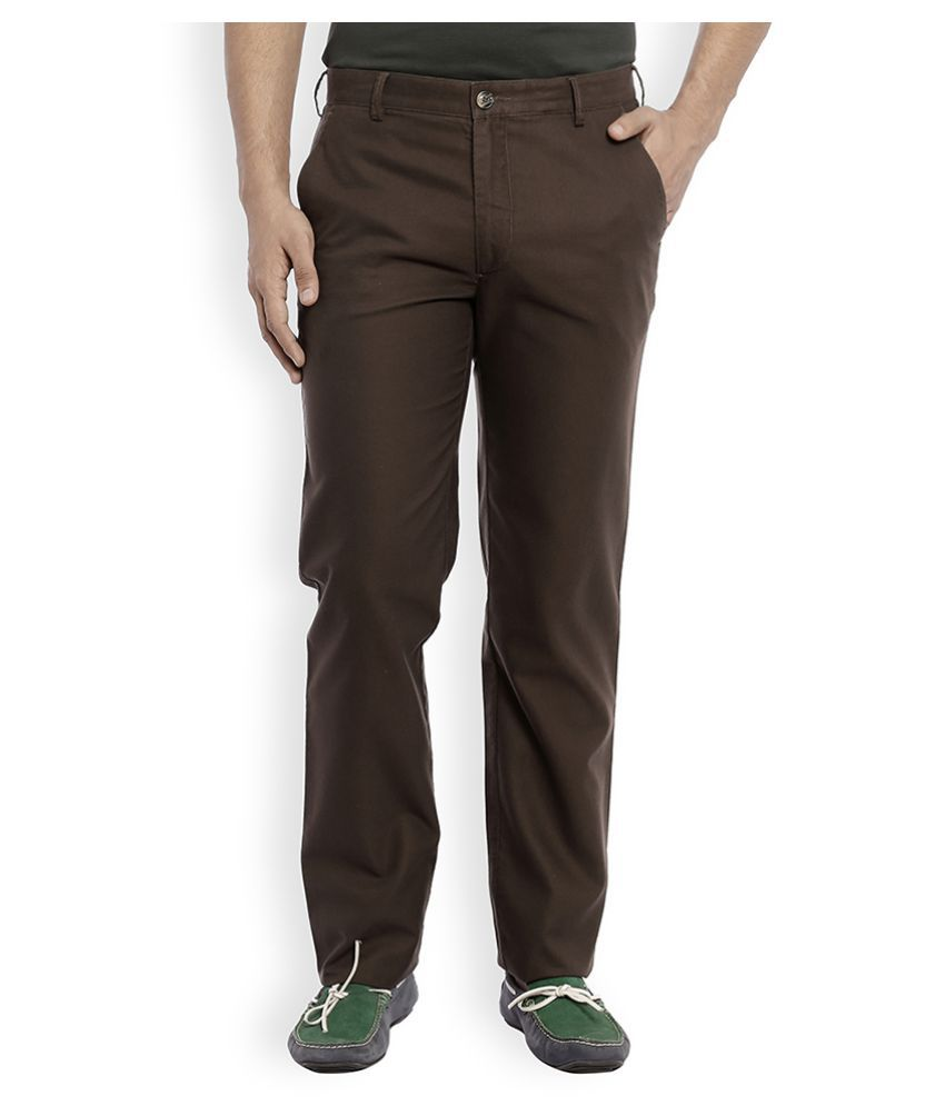 Colorplus Brown Regular Flat Trouser