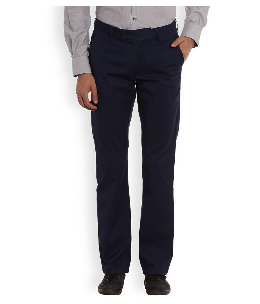 Raymond Navy Blue Regular Flat Trouser