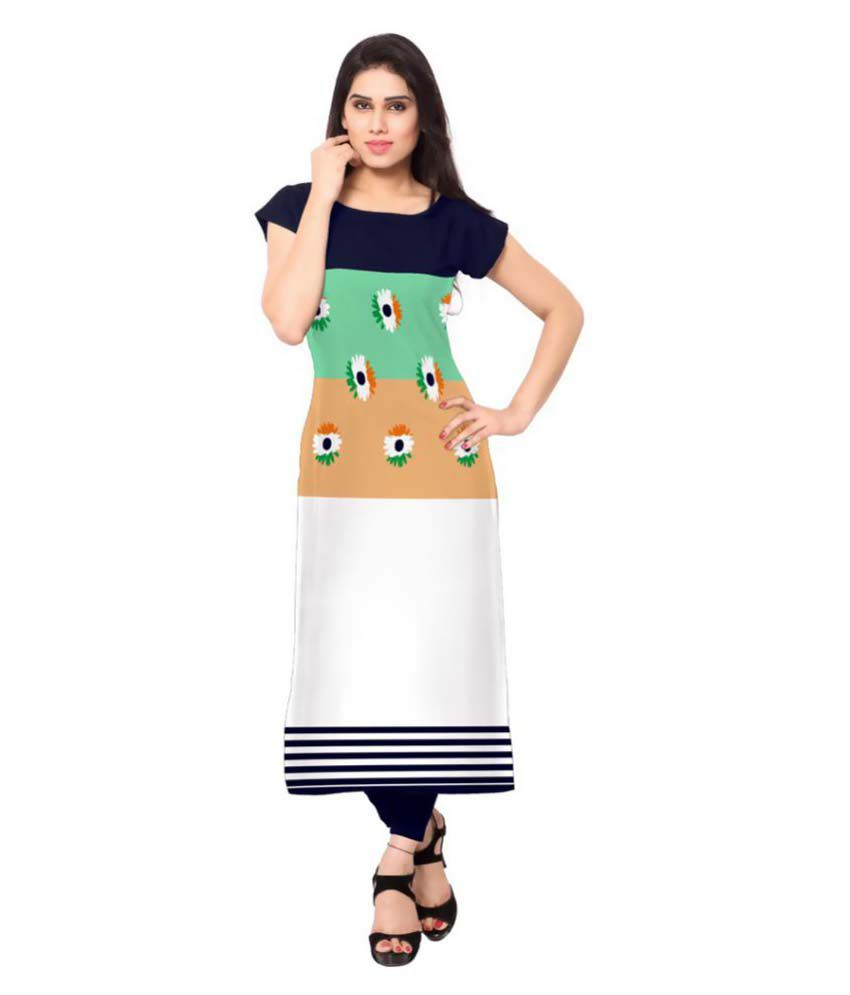 Vency Creation Multicoloured Crepe Straight Kurti