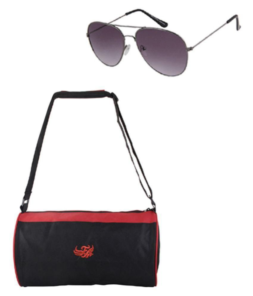 Flying Machine Black Gym Bag with Sunglass
