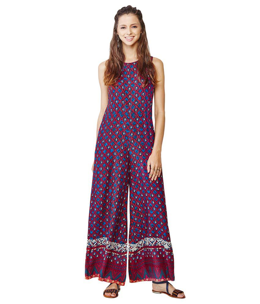 e6ee83bd03ab Global Desi Blue Printed Jumpsuit Dress - Buy Global Desi Blue Printed  Jumpsuit Dress Online at Best Prices in India on Snapdeal