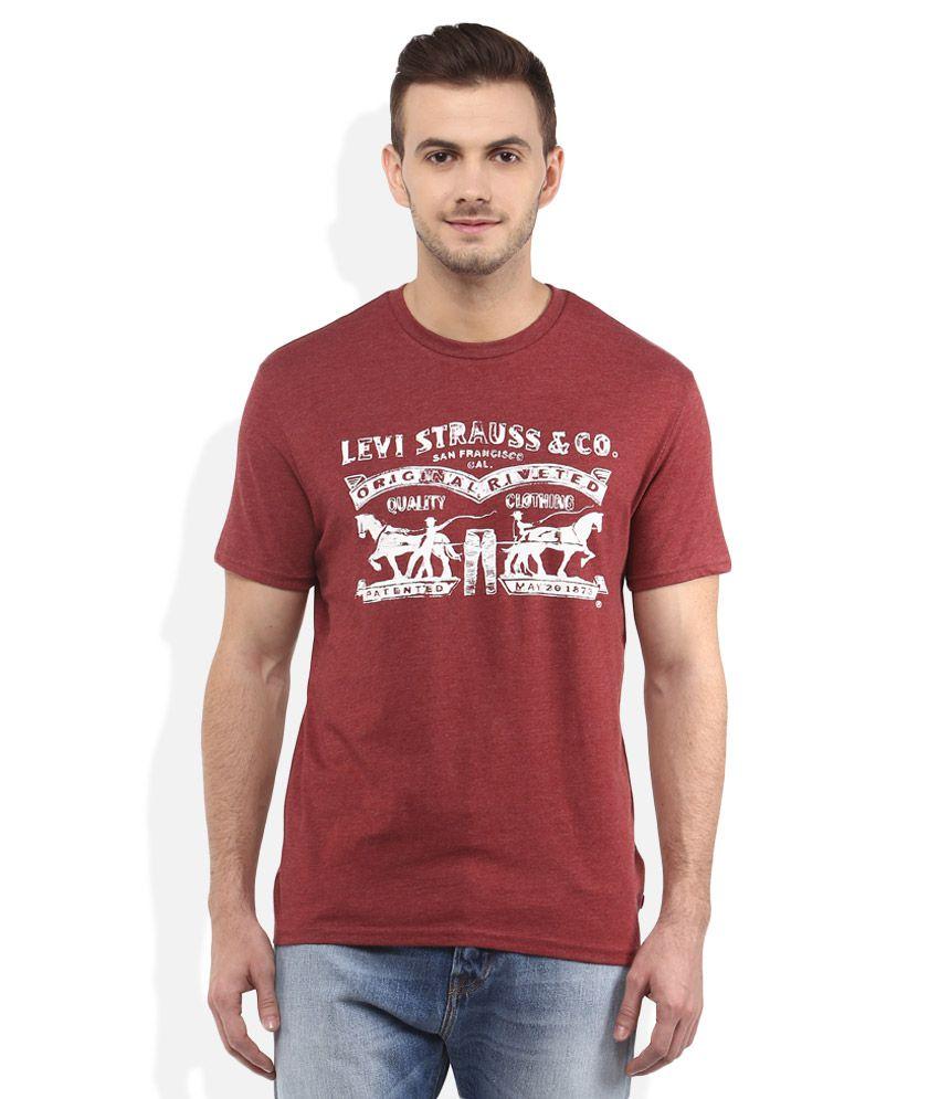 Levis Red Round Neck T Shirt