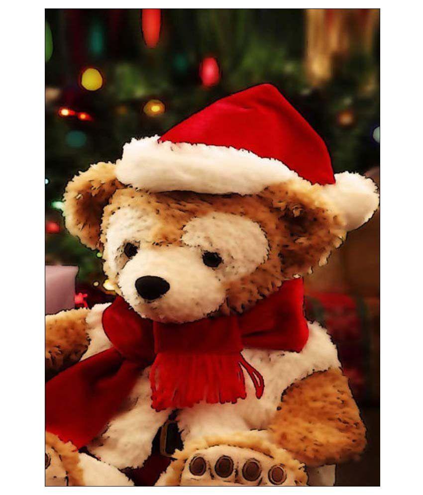 ULTA ANDA Christmas Teddy Bear A4 Cotton Canvas Art Prints With ...