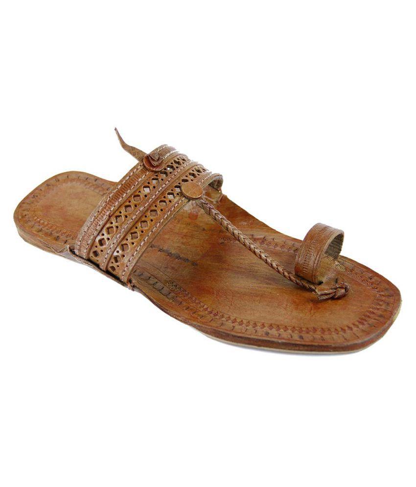 eKolhapuri Tan Flat Ethnic Footwear