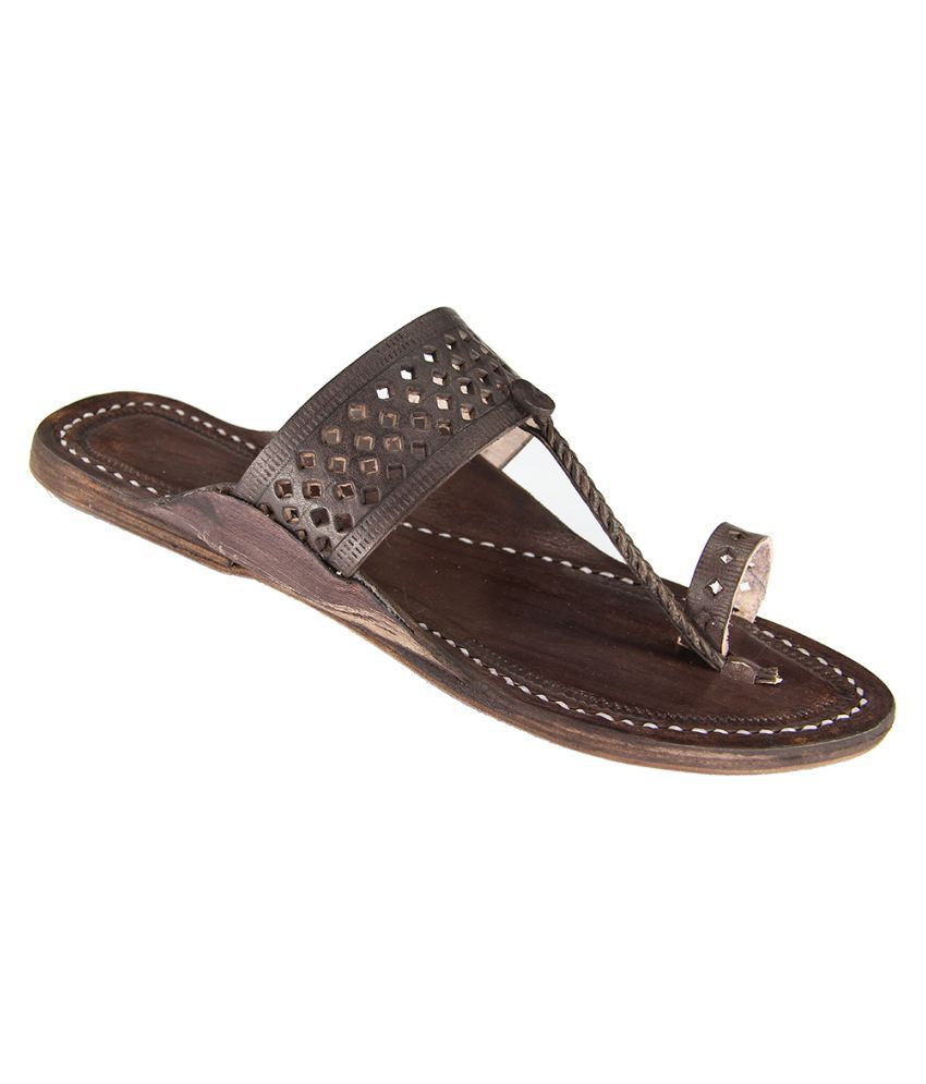 EKolhapuri Brown Flat Ethnic Footwear