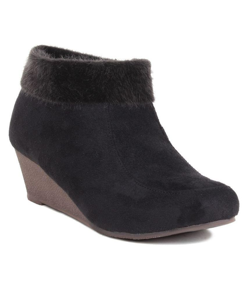 MSC Black Ankle Length Bootie Boots