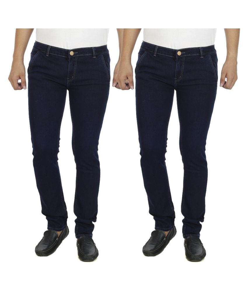 AtLast Navy Blue Slim Washed