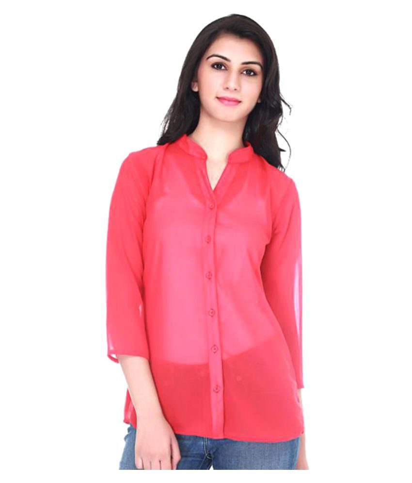 Adyuth Pink Poly Georgette Shirt