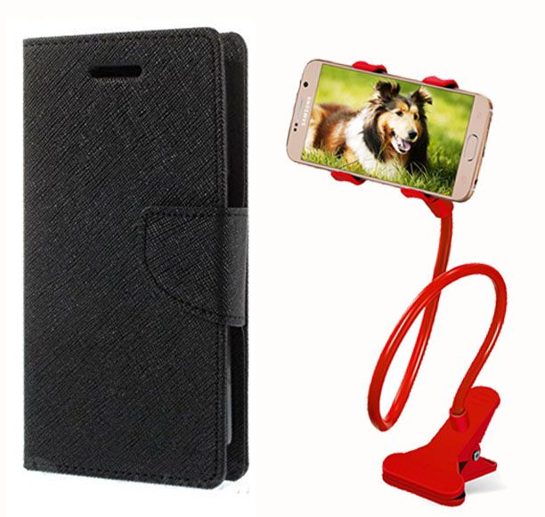 Flip Case Back Cover For Sony Xperia E3(Black) + 360 Rotating Lazy  Bed Moblie Stand for by Style crome.