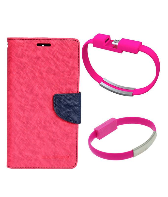 Wallet Flip Case Back Cover For Samsung ON5-(Pink)+USB Bracelet Cable Charging for all smart phones by Style Crome.