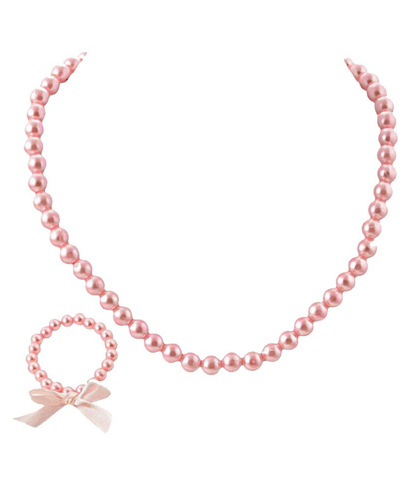 CrayonFlakes Pink Beads Necklace and Bracelet with Bow