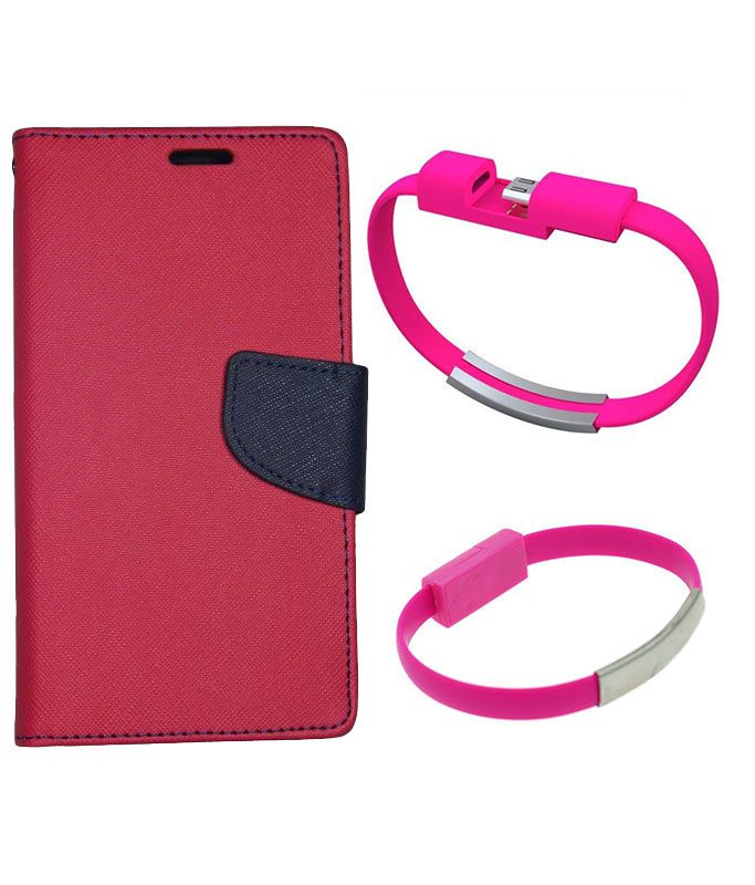 Wallet Flip Case Back Cover For Micromax Q372-(Red)+USB Bracelet Cable Charging for all smart phones by Style Crome.