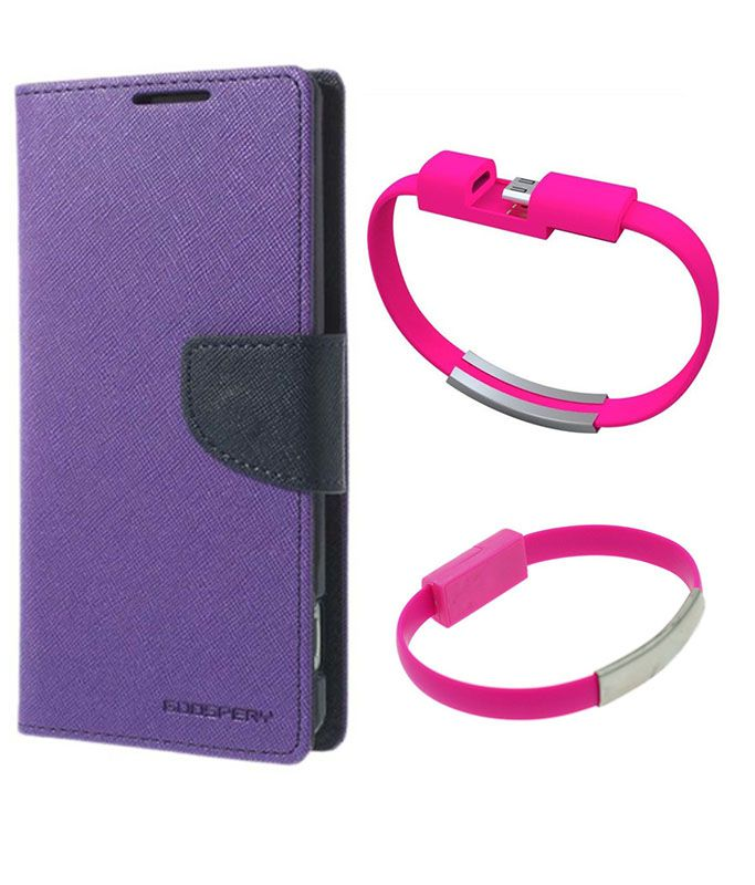 Wallet Flip Case Back Cover For Samsung E7-(Purple)+USB Bracelet Cable Charging for all smart phones by Style Crome.