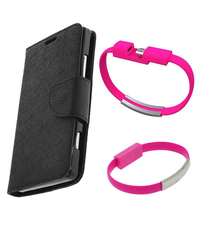 Wallet Flip Case Back Cover For Micromax A110 -(Black)+USB Bracelet Cable Charging for all smart phones by Style Crome.