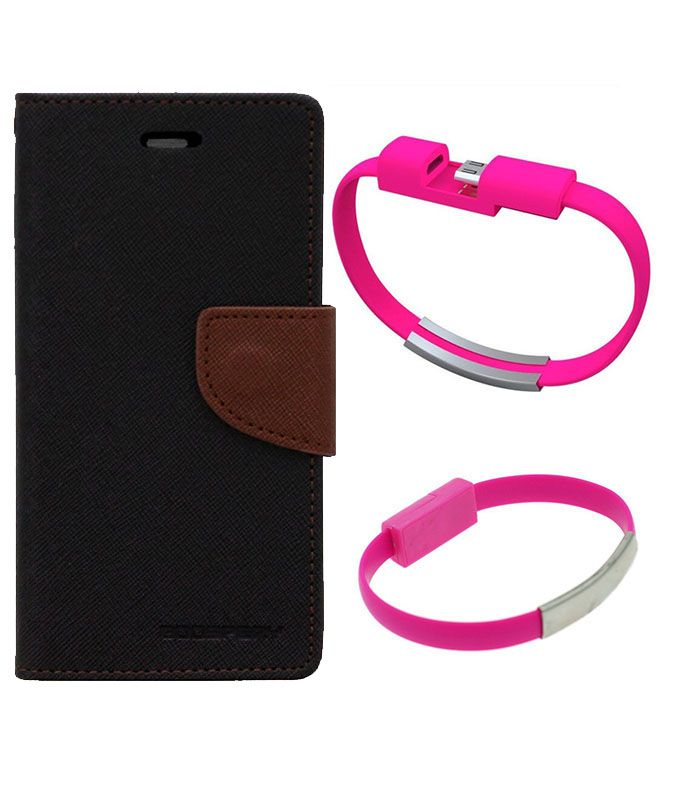 Wallet Flip Case Back Cover For Motorola Moto X2-(Blackbrown)+USB Bracelet Cable Charging for all smart phones by Style Crome.