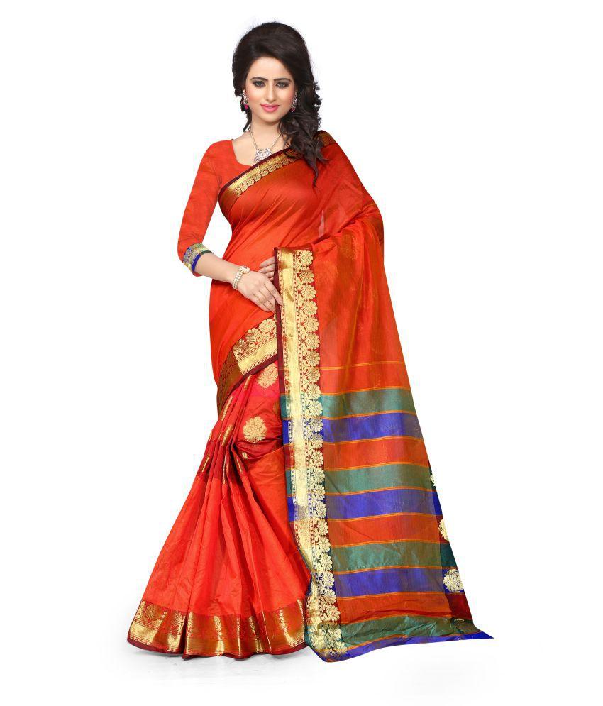 Isha Fashion Orange Cotton Silk Saree