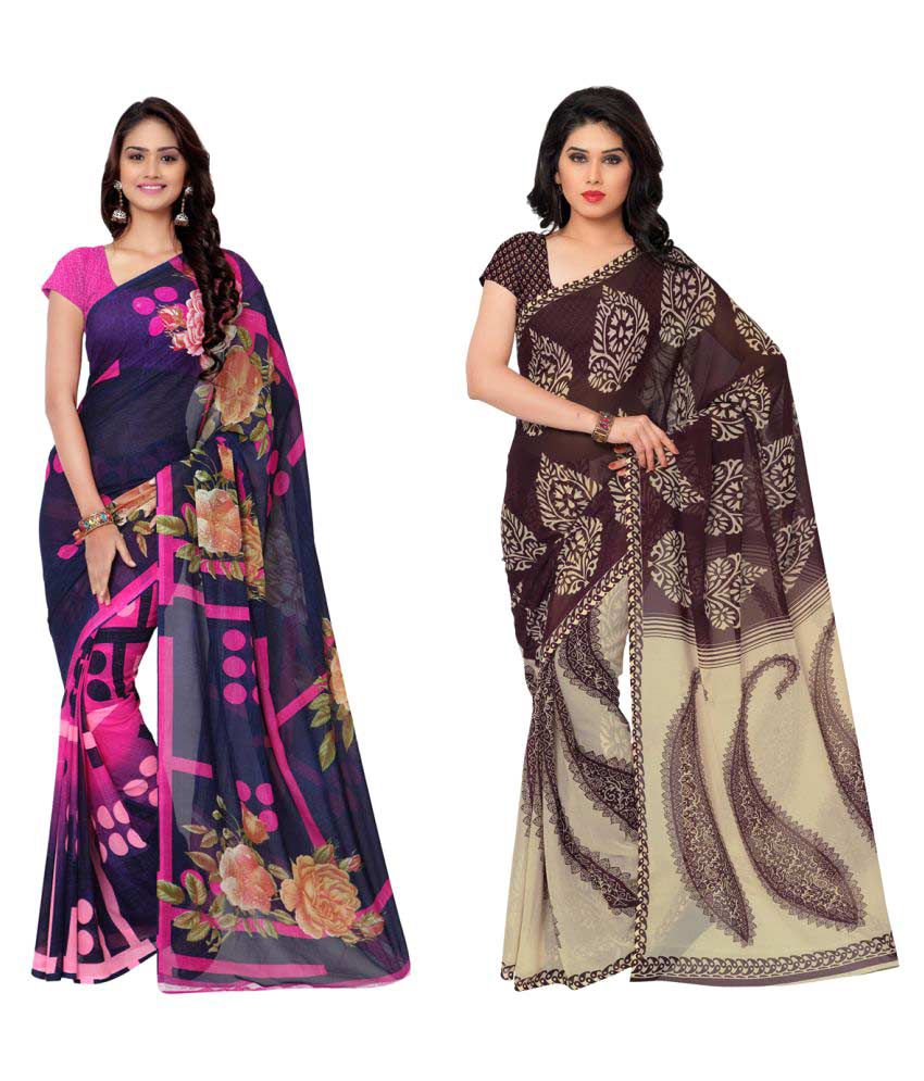Li Te Ra Multicoloured Georgette Saree Combos