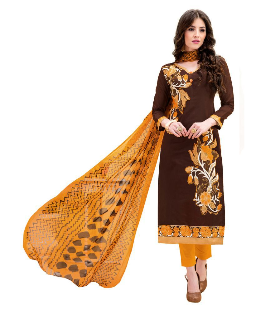 Lovely Look Brown Cotton Dress Material