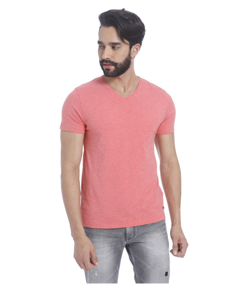 Jack & Jones Pink V-Neck T-Shirt