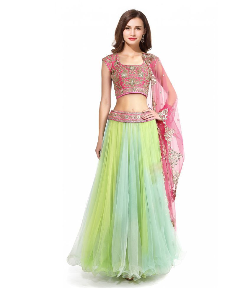 898e0edb8e Styles Closet Lime Green and Grey Net A-line Semi Stitched Lehenga - Buy  Styles Closet Lime Green and Grey Net A-line Semi Stitched Lehenga Online  at Best ...
