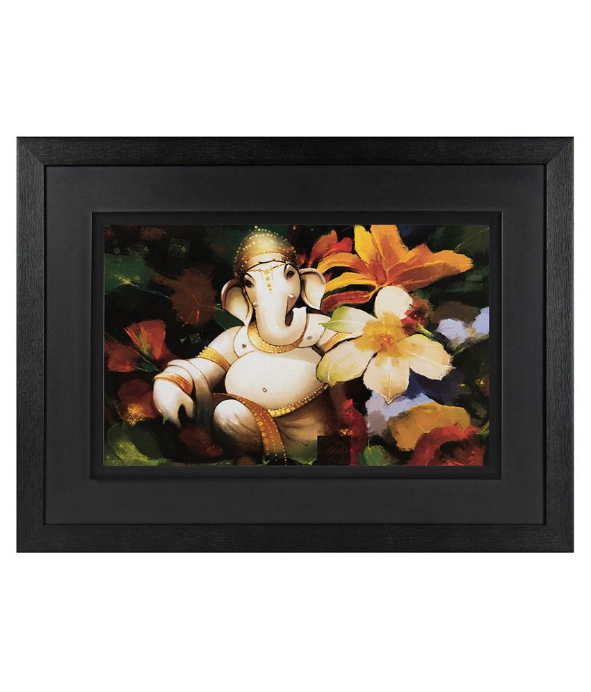 Jaf Ganesha Wood Art Prints with Frame Single Piece