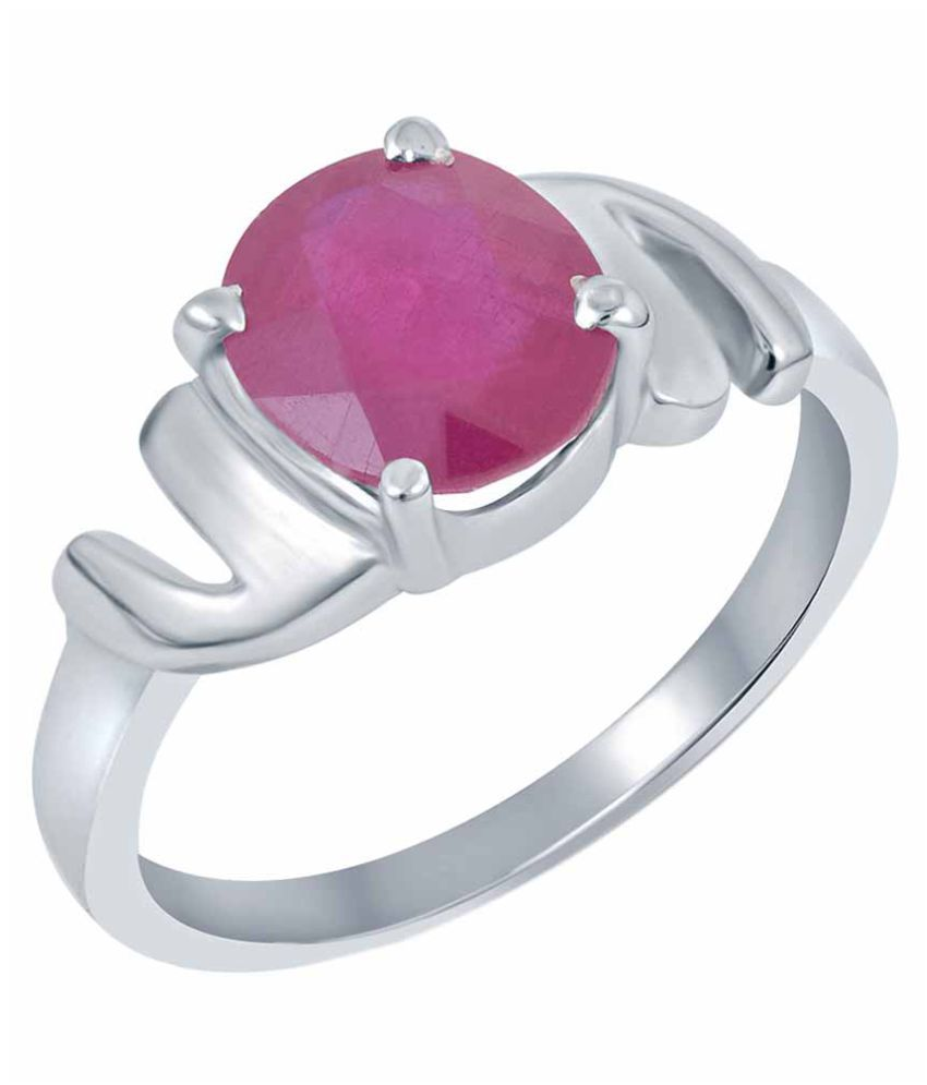 G-Luck 92.5 Silver Ruby Ring