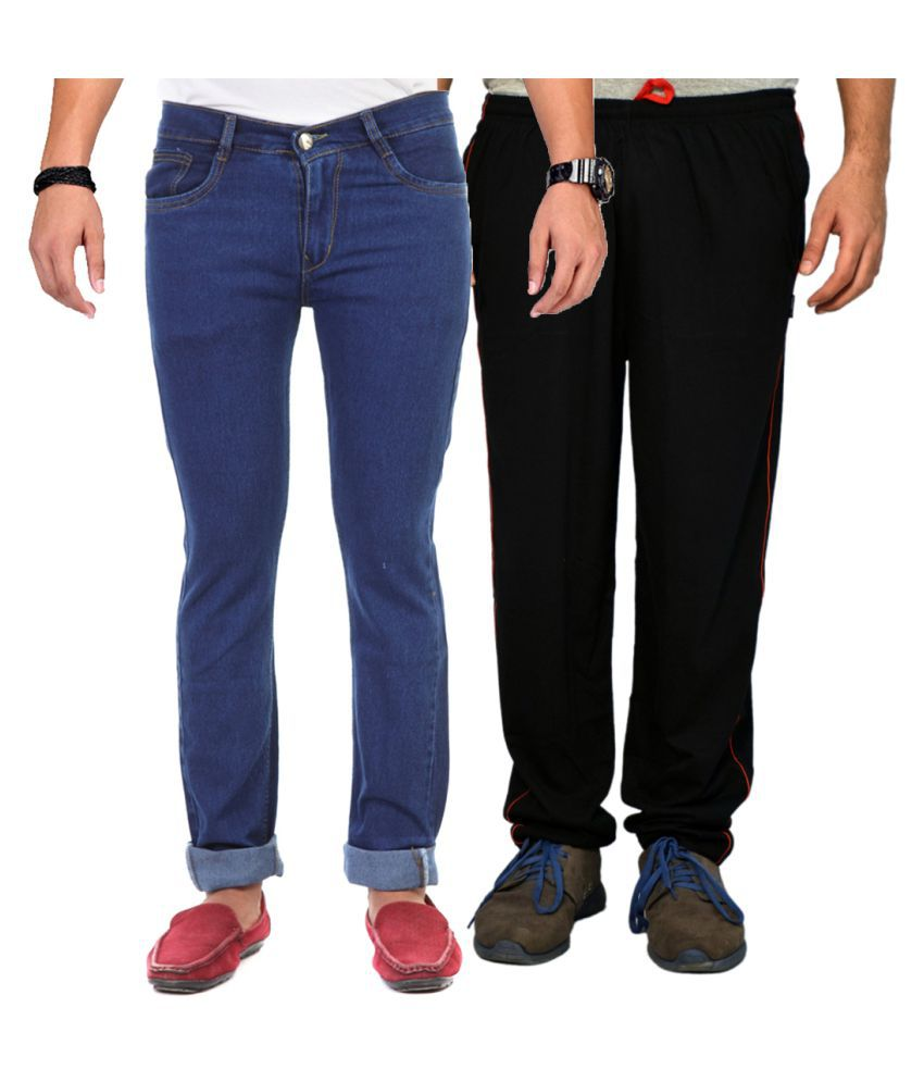 Van Galis Blue Regular Fit Solid Jeans with Trackpant