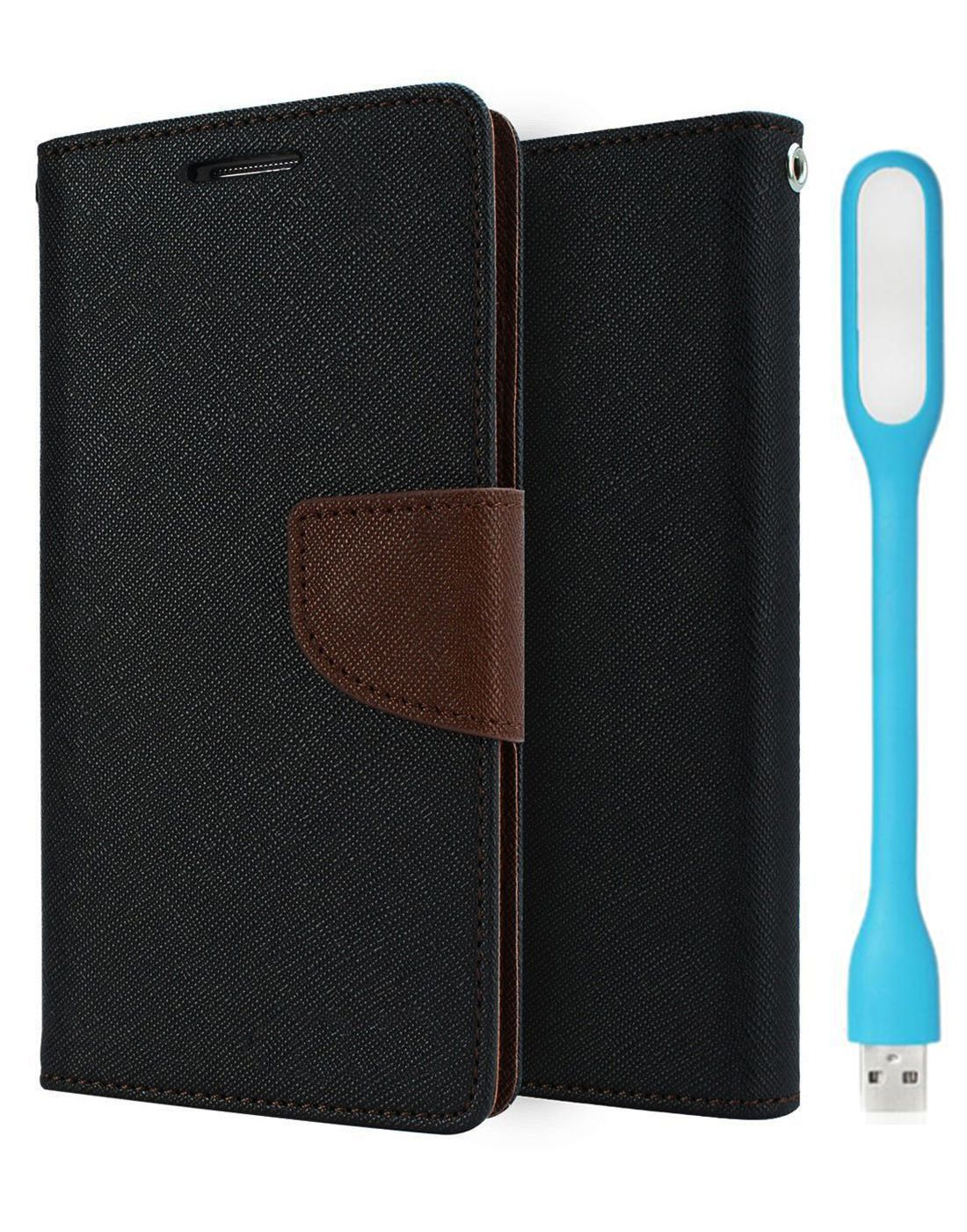 Wallet Flip Case Back Cover For Sony Xpria T3 - (Blackbrown) + Flexible Mini LED Stick Lamp Light By Style Crome