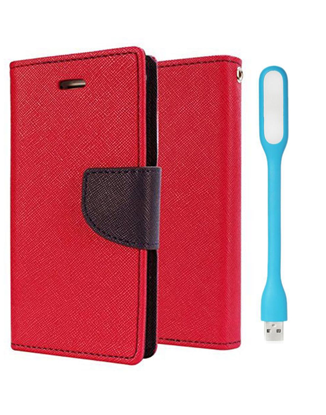 Wallet Flip Case Back Cover For Micromax Q345 - (Red) + Flexible Mini LED Stick Lamp Light By Style Crome