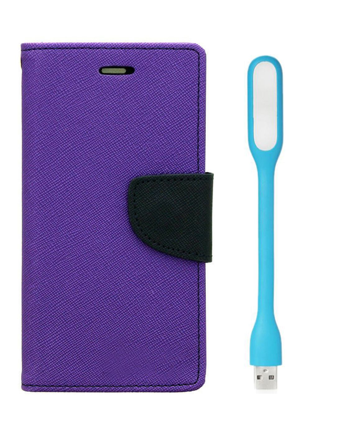 Wallet Flip Case Back Cover For HTC 526 - (Purple) + Flexible Mini LED Stick Lamp Light By Style Crome