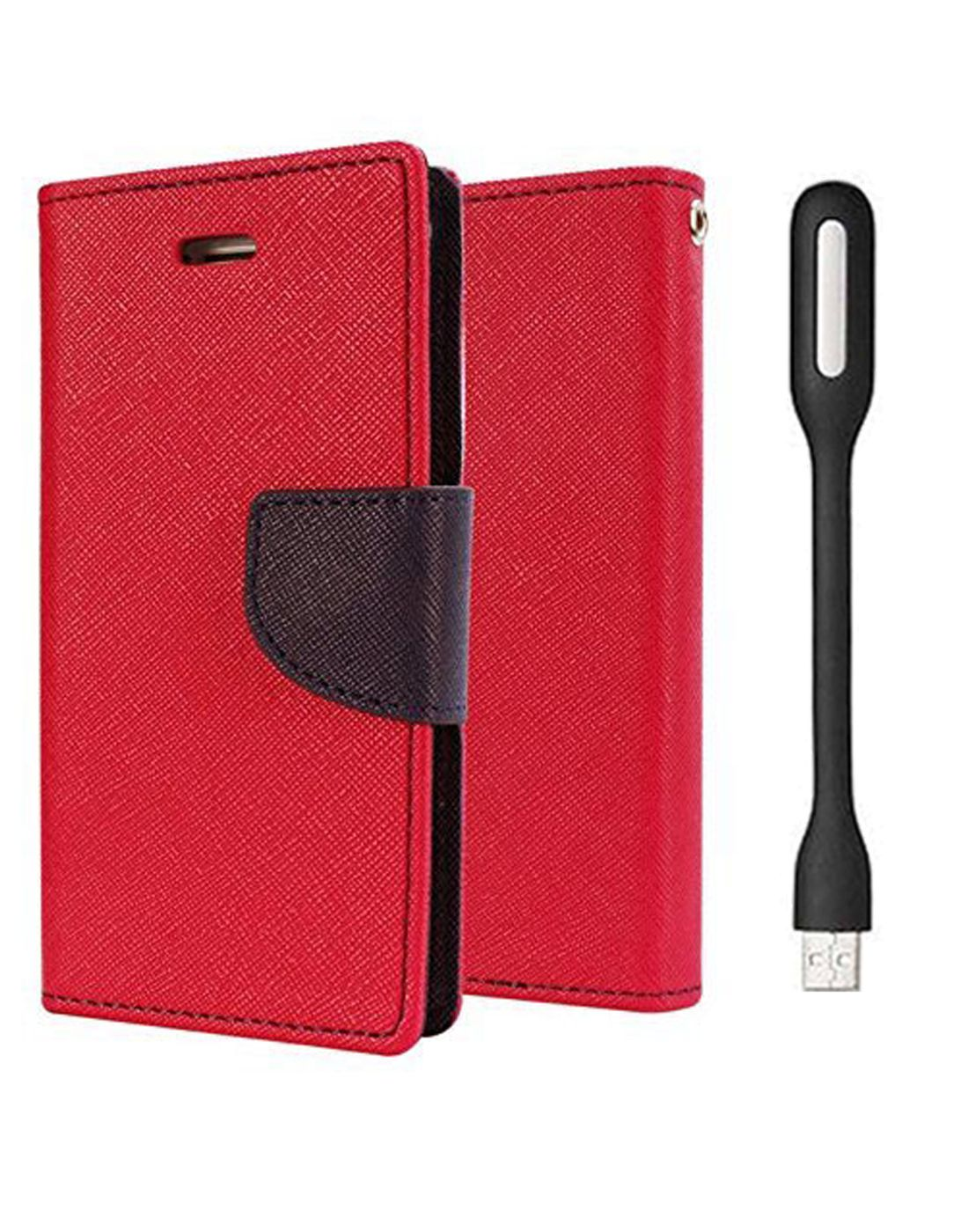 Wallet Flip Case Back Cover For Samsung A7 - (Red) + Flexible Mini LED Stick Lamp Light By Style Crome