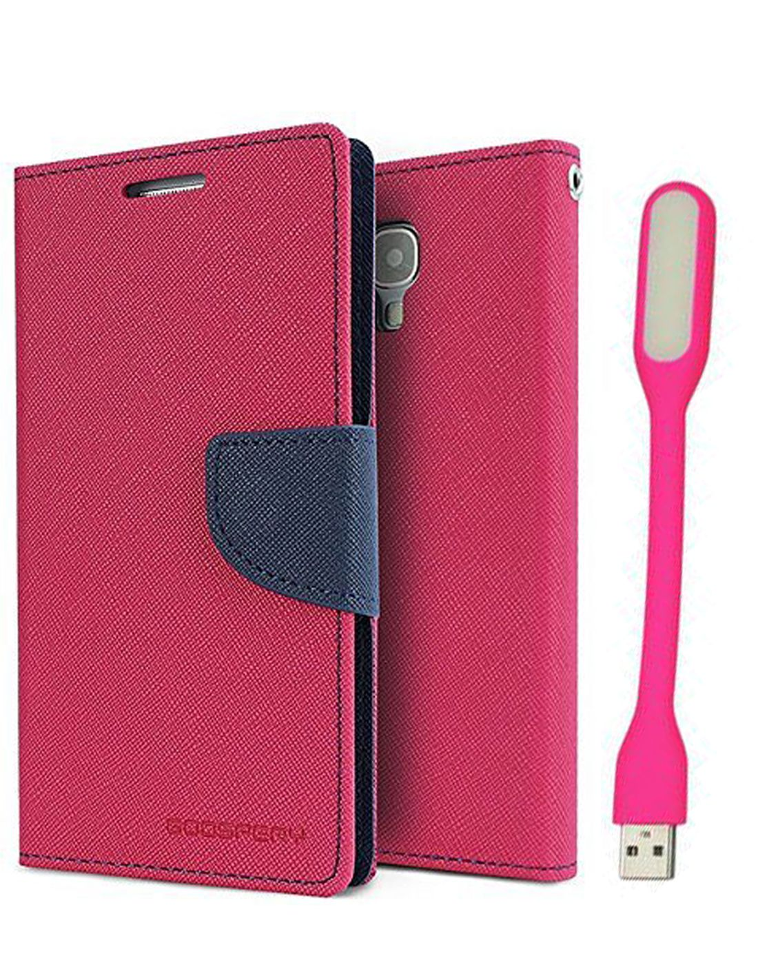 Wallet Flip Case Back Cover For HTC 826 - (Pink) + Flexible Mini LED Stick Lamp Light By Style Crome