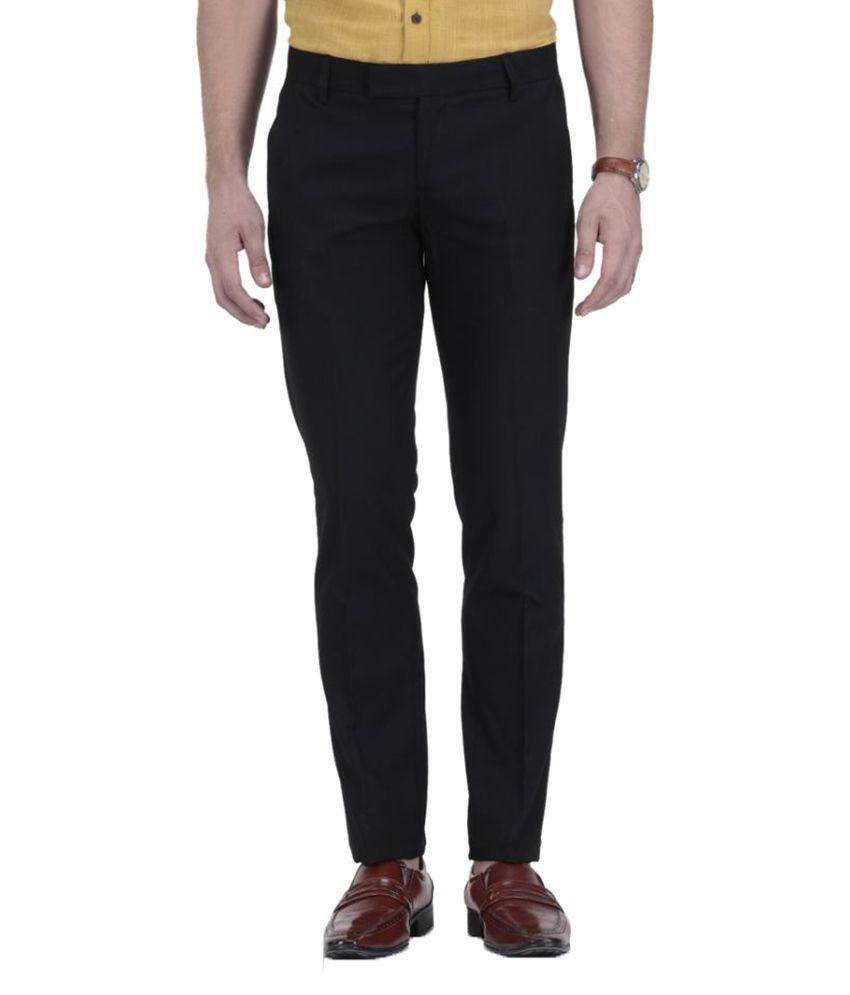Le Meiux Black Regular Flat Trouser