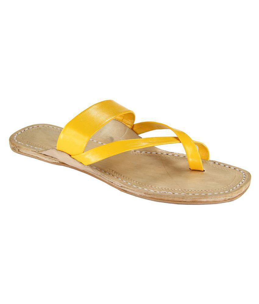 eKolhapuri Yellow Flat Ethnic Footwear