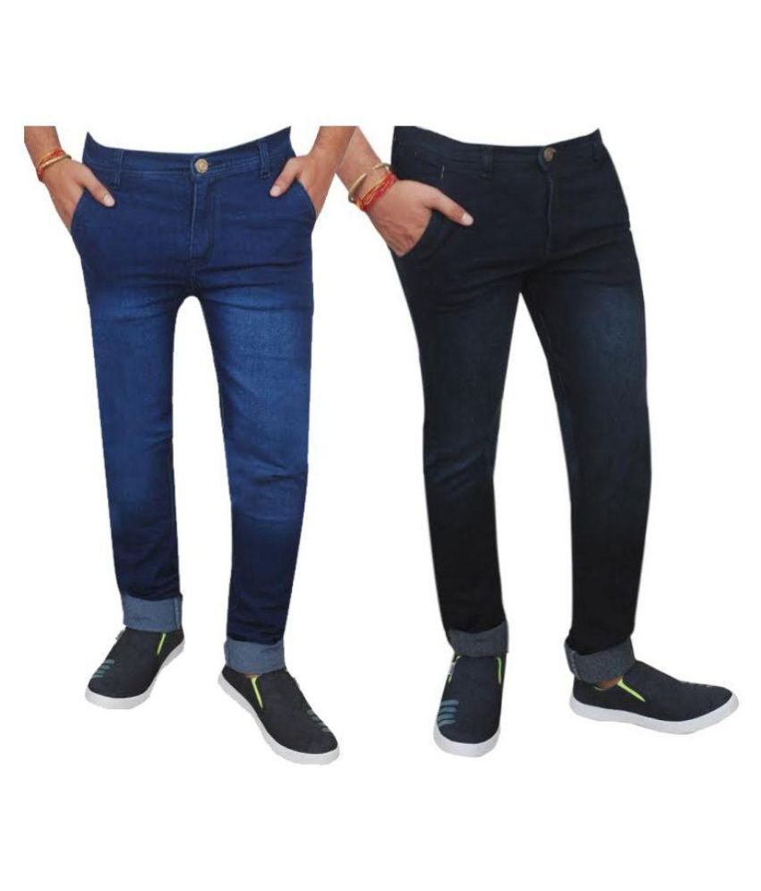 Inspire Next Multicolored Regular Fit Faded Jeans - Pack of 2