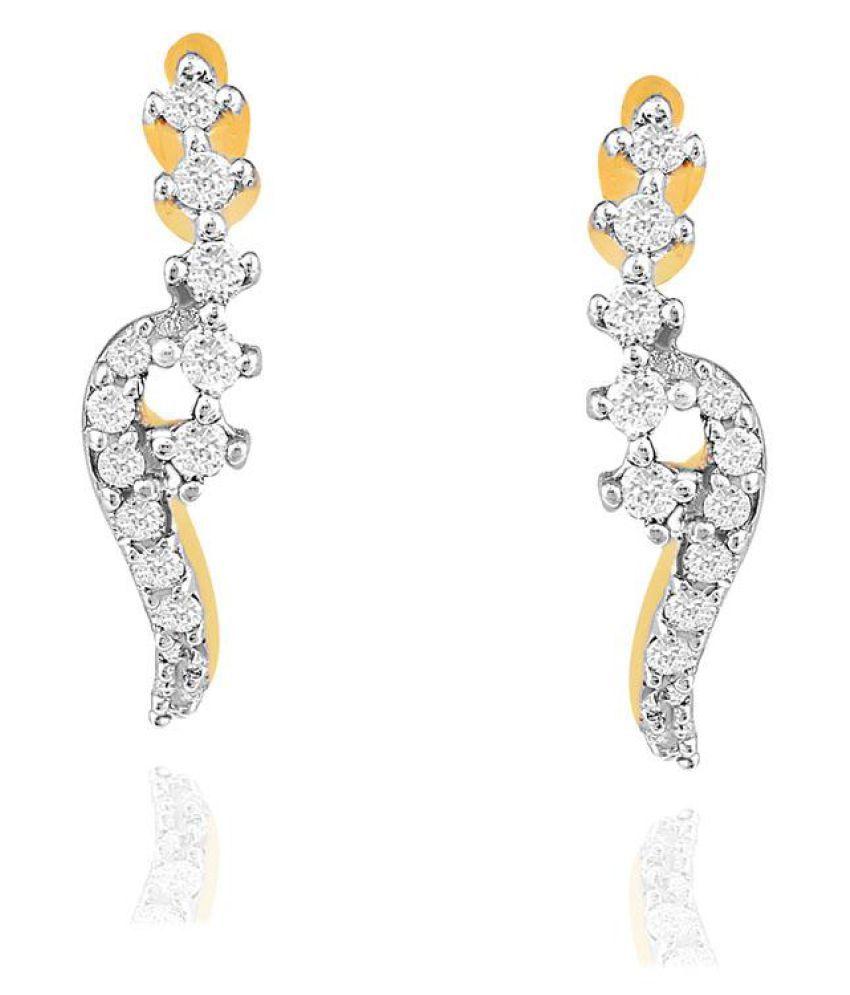 Asmi 18k BIS Hallmarked Yellow Gold Diamond Huggies